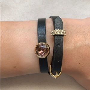 Alexis Bittar black leather wrap choker/bracelet